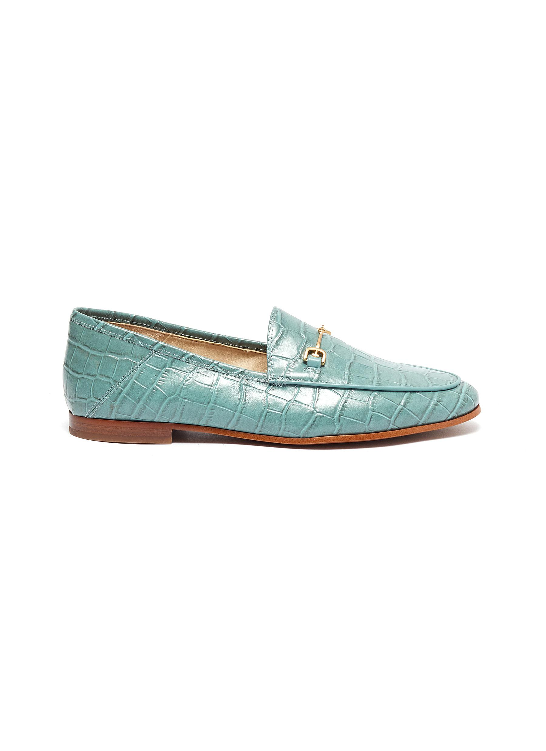Sam Edelman Flats Loraine croc embossed leather step-in loafers