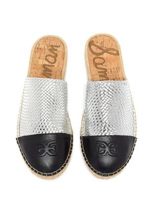 Detail View - Click To Enlarge - SAM EDELMAN - 'Karter' contrast toe woven leather slide in espadrilles