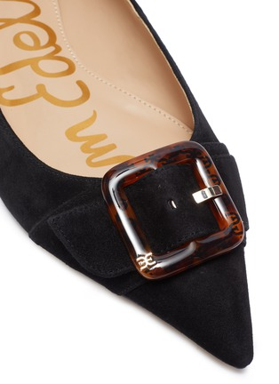 Detail View - Click To Enlarge - SAM EDELMAN - 'Sonja' buckle suede leather skimmer flats