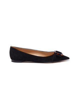 Main View - Click To Enlarge - SAM EDELMAN - 'Sonja' buckle suede leather skimmer flats