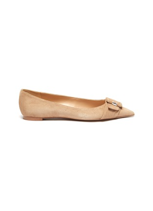 Main View - Click To Enlarge - SAM EDELMAN - 'Sonja' buckle suede skimmer flats