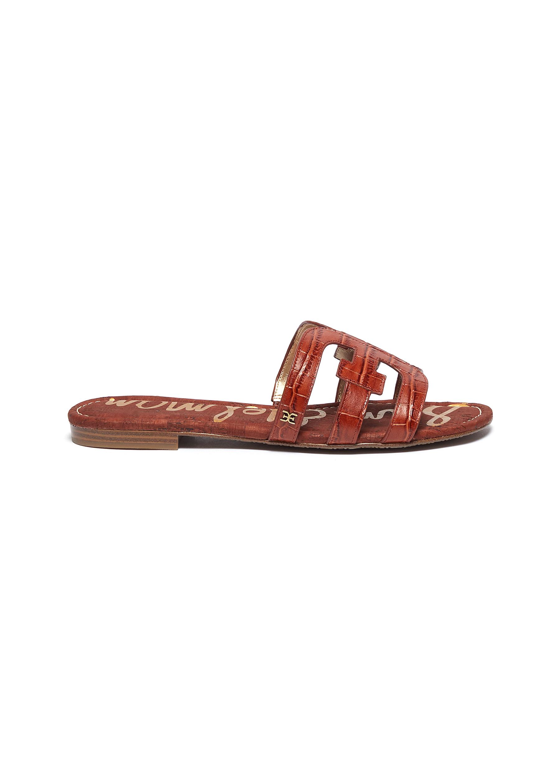 Sam Edelman Flats Bay croc embossed leather slide sandals