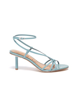 Main View - Click To Enlarge - SAM EDELMAN - 'Pippa' strappy croc-embossed leather sandals
