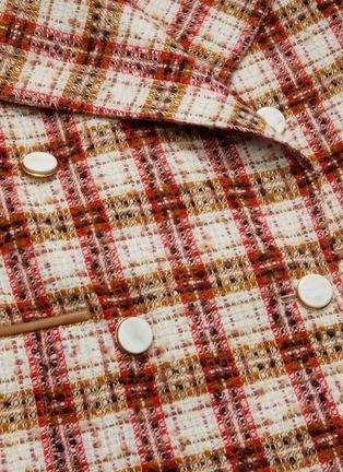 - VICTORIA BECKHAM - Oversize lapel double breast check tweed men's coat