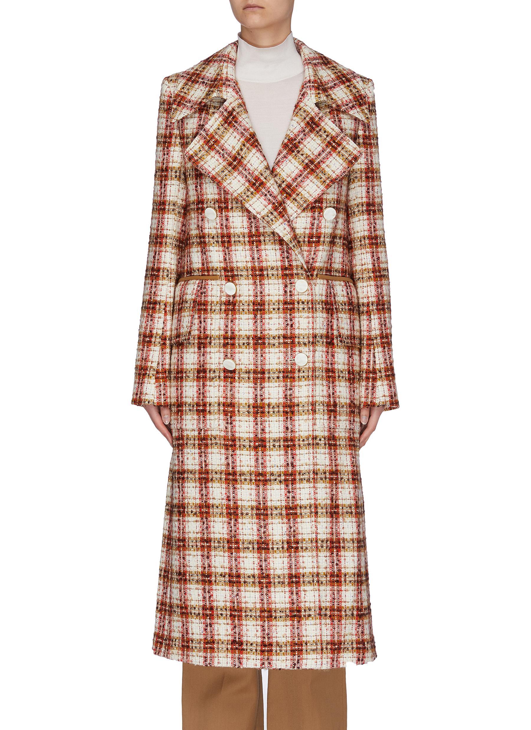 shop Victoria Beckham Oversize lapel double breast check tweed men's coat online