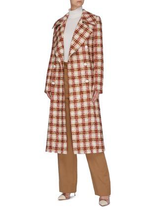 Figure View - Click To Enlarge - VICTORIA BECKHAM - Oversize lapel double breast check tweed men's coat