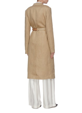 Back View - Click To Enlarge - VICTORIA BECKHAM - Peak lapel contrast belted tailored coat