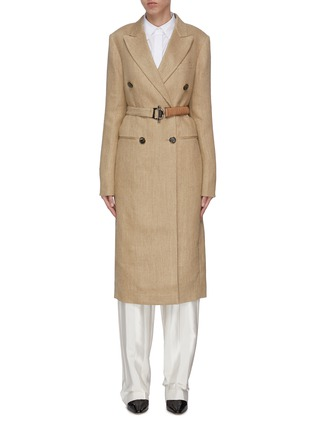 Main View - Click To Enlarge - VICTORIA BECKHAM - Peak lapel contrast belted tailored coat
