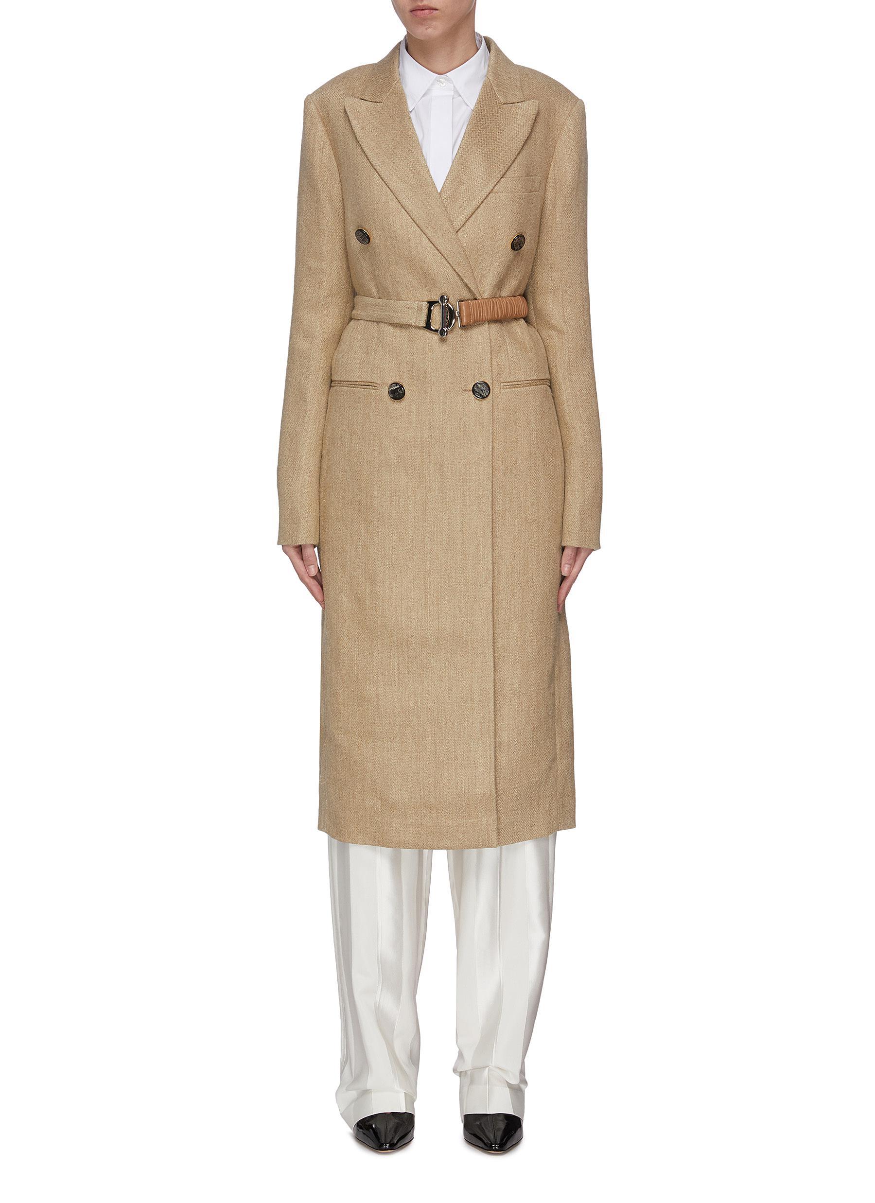 shop Victoria Beckham Peak lapel contrast belted tailored coat online