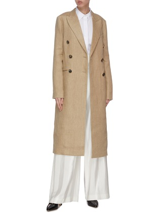 Figure View - Click To Enlarge - VICTORIA BECKHAM - Peak lapel contrast belted tailored coat