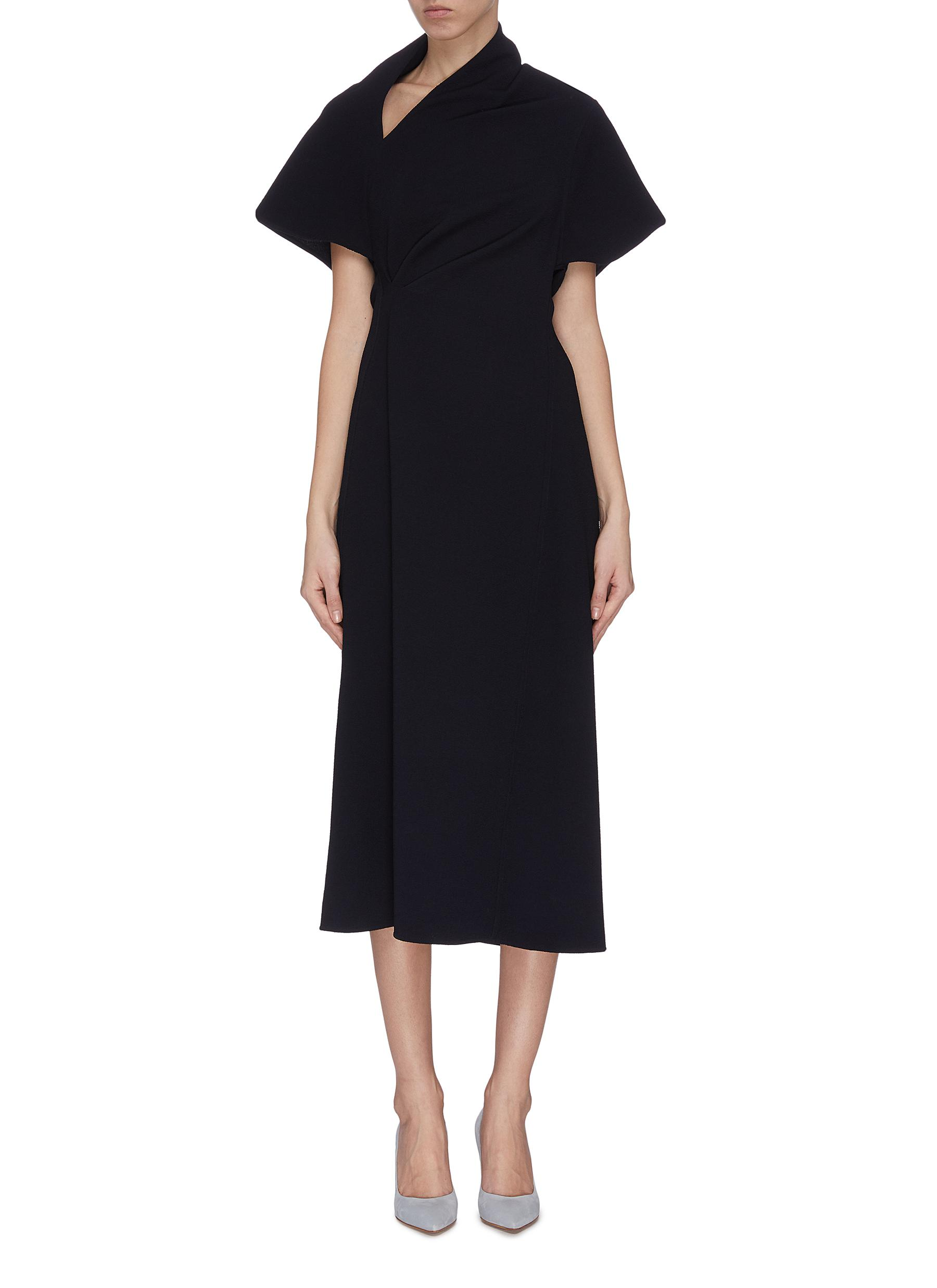 shop Victoria Beckham Asymmetric neck gathered flared dress online