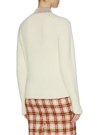 Back View - Click To Enlarge - VICTORIA BECKHAM - Contrast shawl collar rib knit sweater