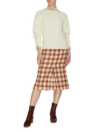 Figure View - Click To Enlarge - VICTORIA BECKHAM - Contrast shawl collar rib knit sweater