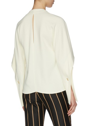 Back View - Click To Enlarge - VICTORIA BECKHAM - Sleeve cutout fluid V neck top