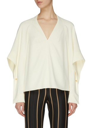 Main View - Click To Enlarge - VICTORIA BECKHAM - Sleeve cutout fluid V neck top