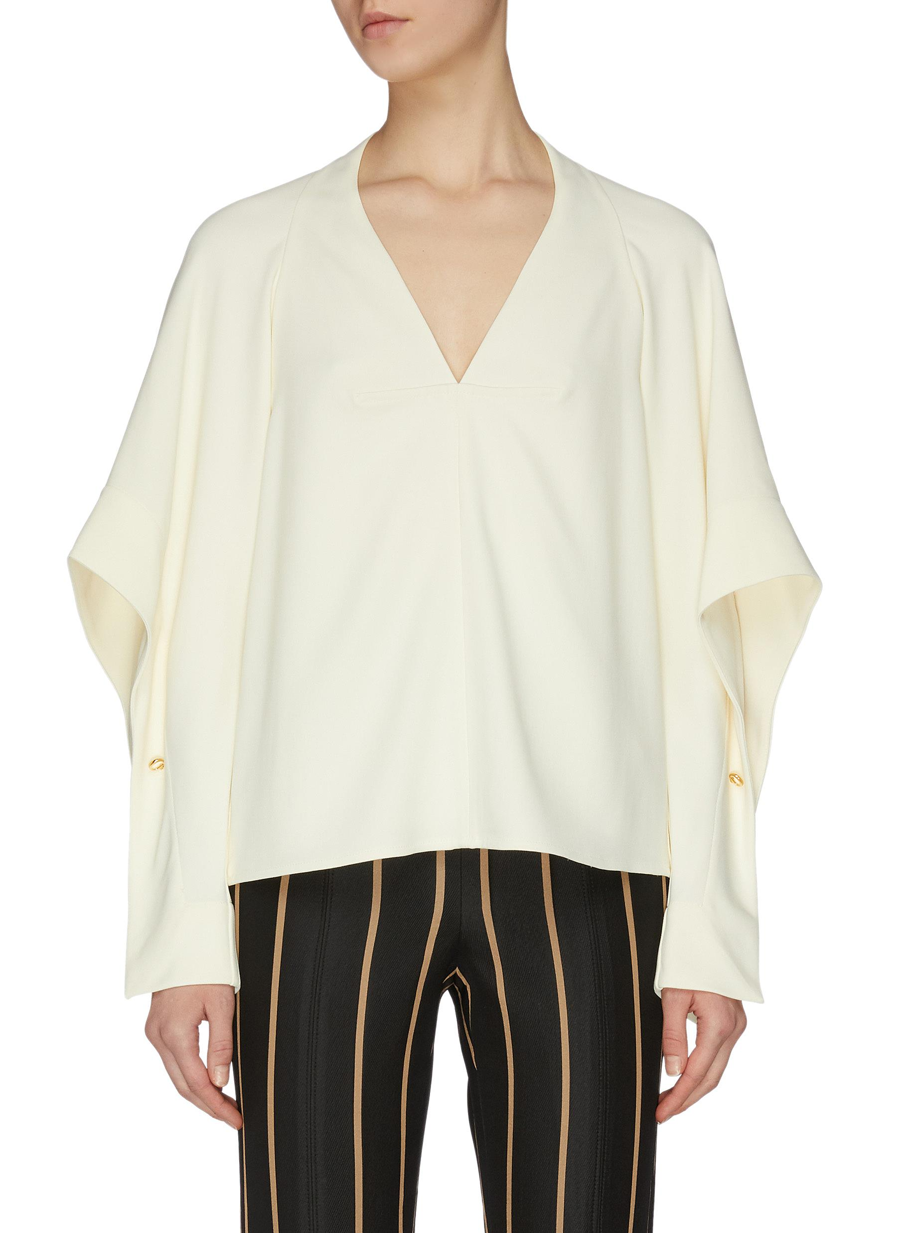 shop Victoria Beckham Sleeve cutout fluid V neck top online