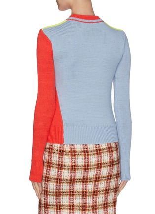 Back View - Click To Enlarge - VICTORIA BECKHAM - Asymmetric colourblock wool-alpaca blend crop sweater