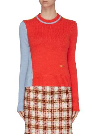 Main View - Click To Enlarge - VICTORIA BECKHAM - Asymmetric colourblock wool-alpaca blend crop sweater