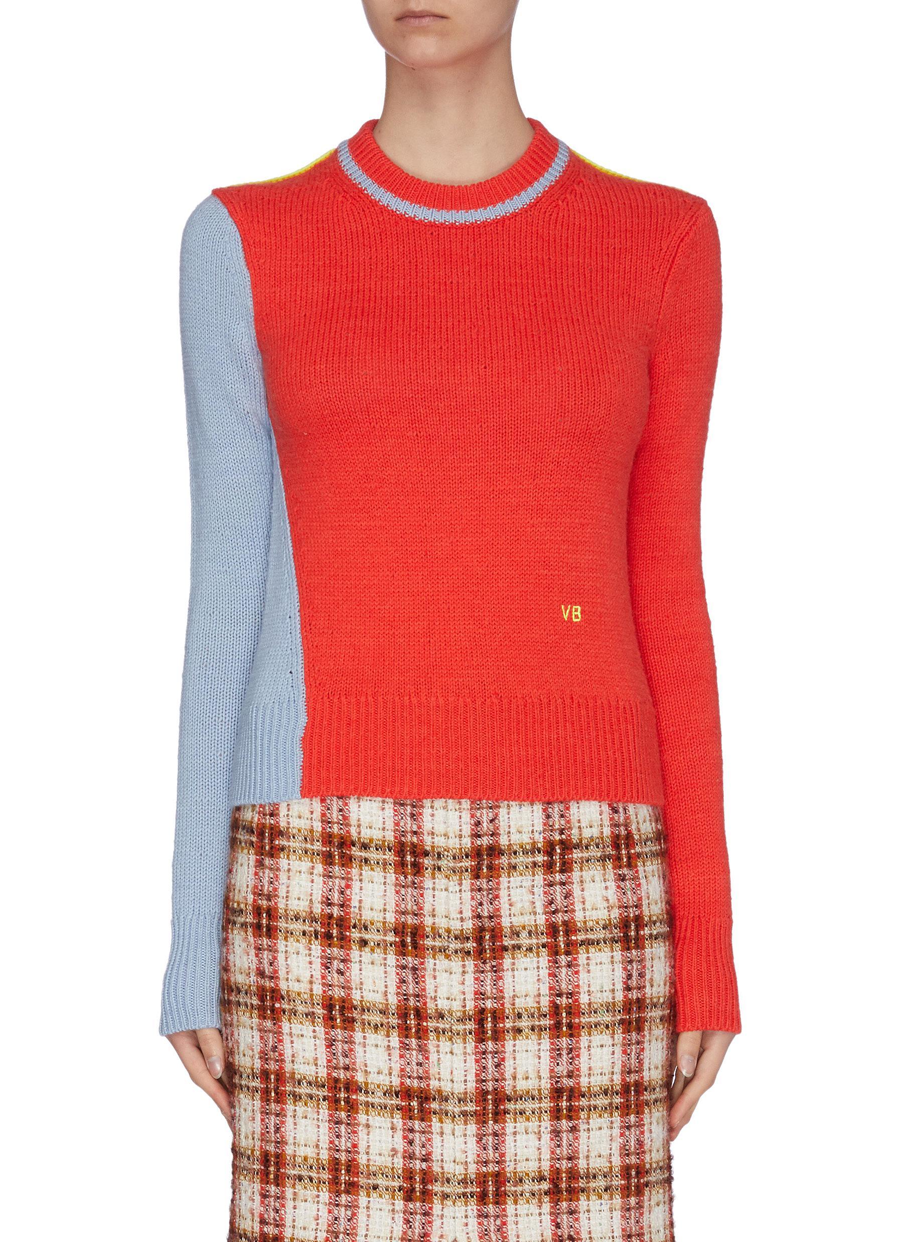 Buy Victoria Beckham Knitwear Asymmetric colourblock wool-alpaca blend crop sweater