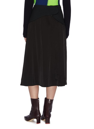 Back View - Click To Enlarge - VICTORIA BECKHAM - Contrast panel pleated skirt
