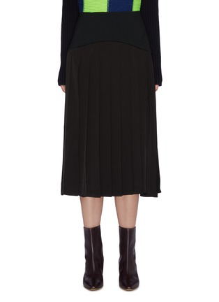 Main View - Click To Enlarge - VICTORIA BECKHAM - Contrast panel pleated skirt