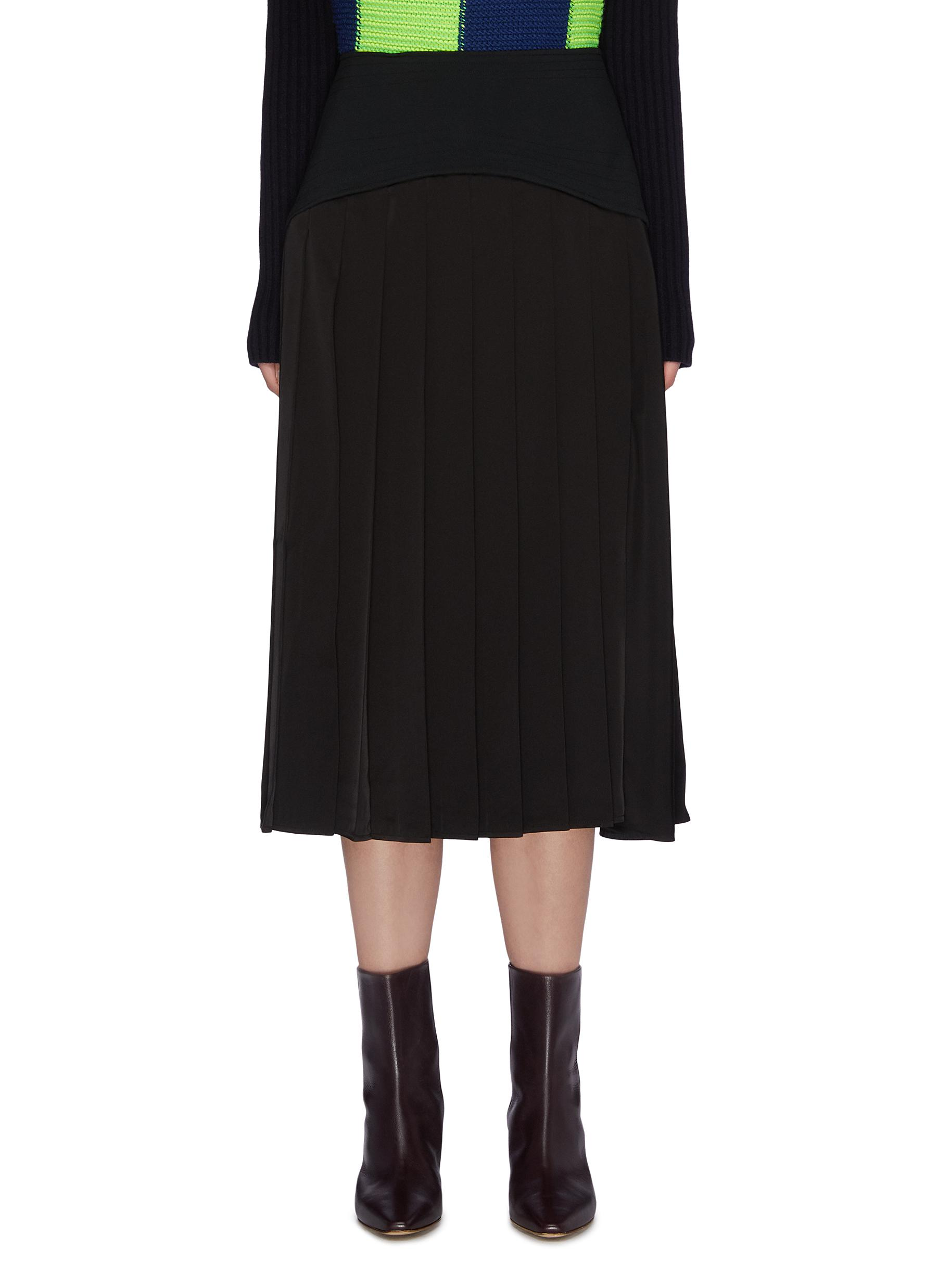 shop Victoria Beckham Contrast panel pleated skirt online