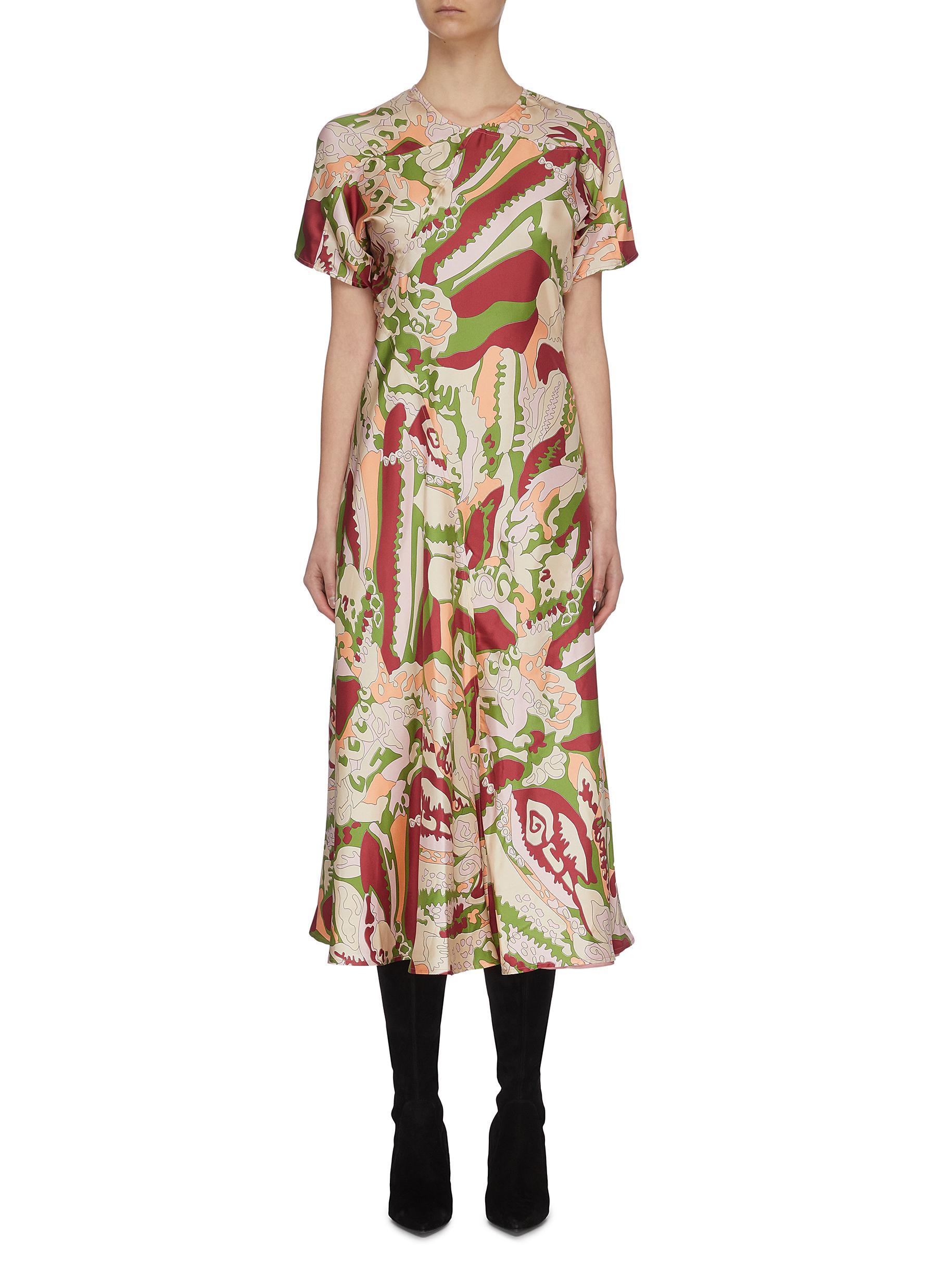 Buy Victoria Beckham Dresses Abstract Print Panel Flare Dress