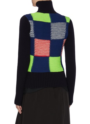 Back View - Click To Enlarge - VICTORIA BECKHAM - Turtleneck patchwork rib wool knit sweater