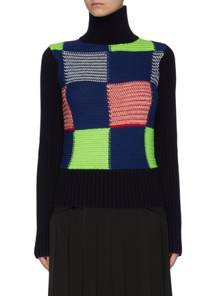 Main View - Click To Enlarge - VICTORIA BECKHAM - Turtleneck patchwork rib wool knit sweater
