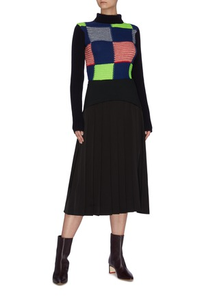 Figure View - Click To Enlarge - VICTORIA BECKHAM - Turtleneck patchwork rib wool knit sweater