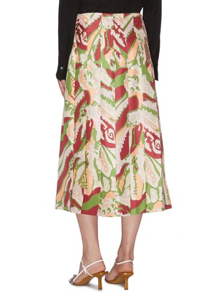 Back View - Click To Enlarge - VICTORIA BECKHAM - Abstract print back pleat silk wrap skirt