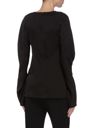 Back View - Click To Enlarge - VICTORIA BECKHAM - Asmmmetric detail gather sleeve top