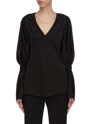 Main View - Click To Enlarge - VICTORIA BECKHAM - Asmmmetric detail gather sleeve top