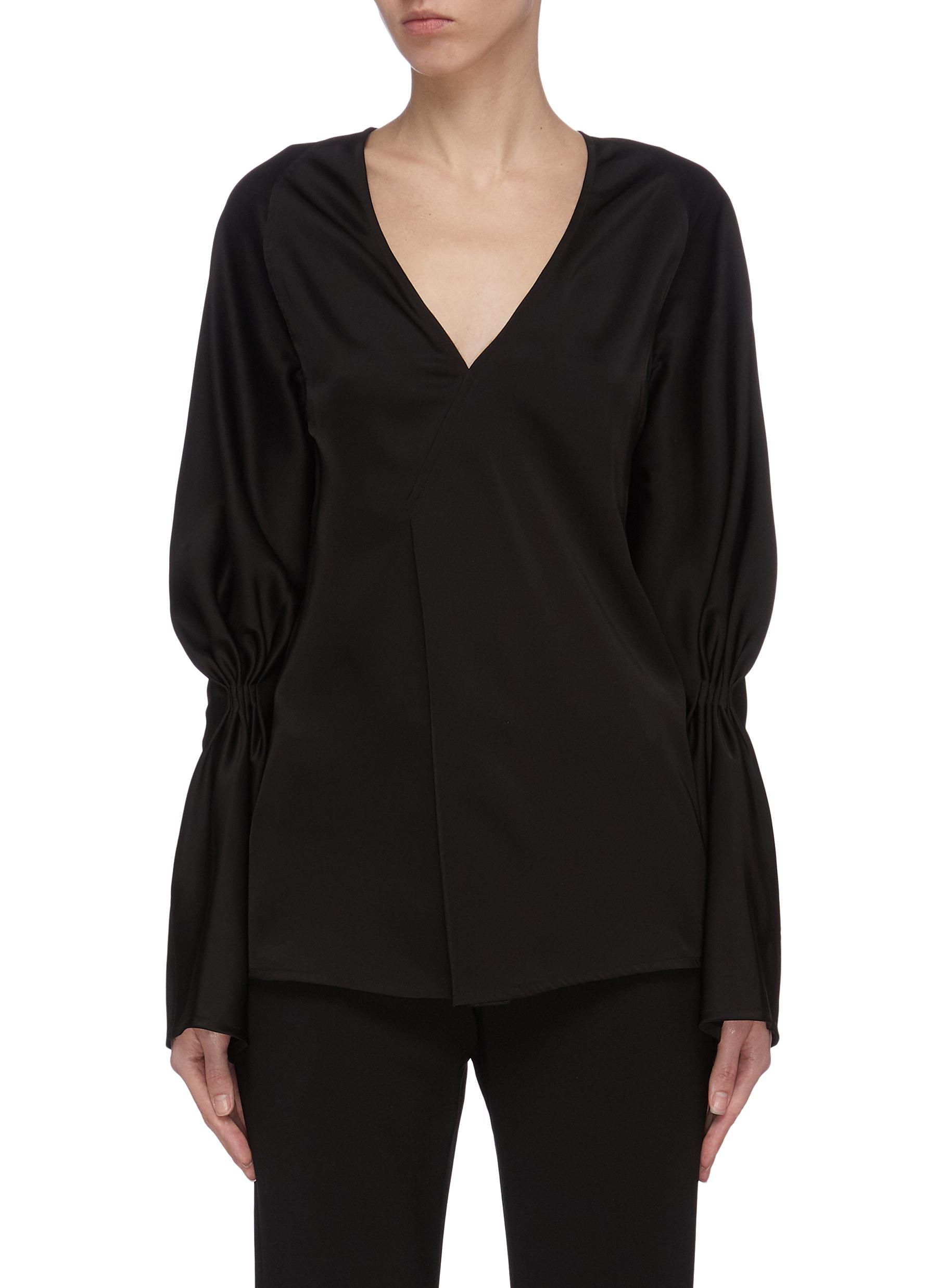 shop Victoria Beckham Asmmmetric detail gather sleeve top online