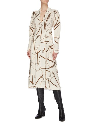 Figure View - Click To Enlarge - VICTORIA BECKHAM - Puff sleeve horse bridle print pleated crepe dress
