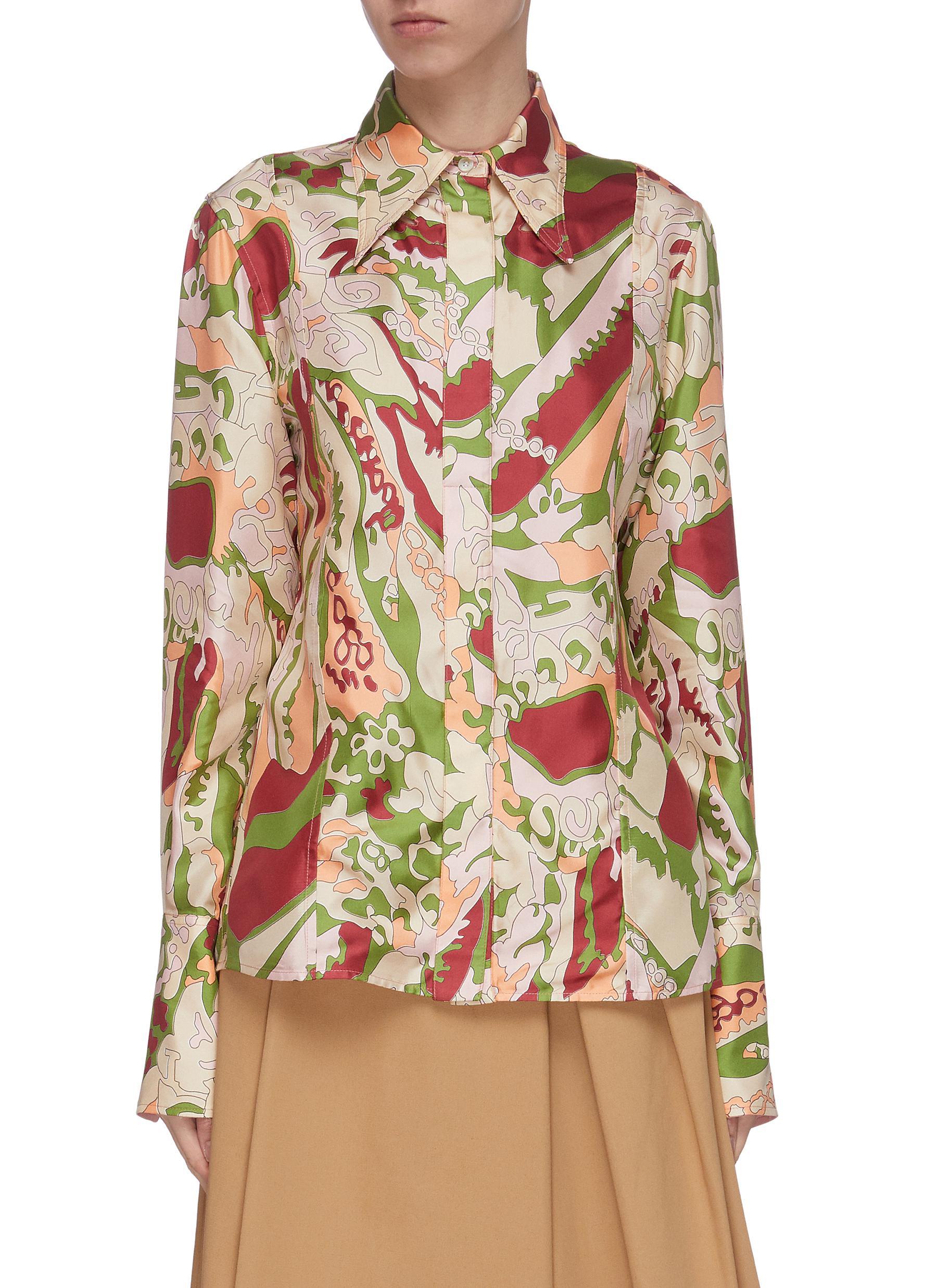 shop Victoria Beckham Point collar abstract print placket shirt online