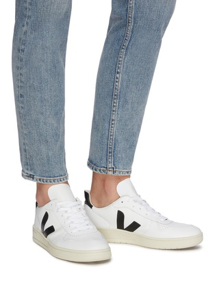 Figure View - Click To Enlarge - VEJA - V-10' perforated leather sneakers