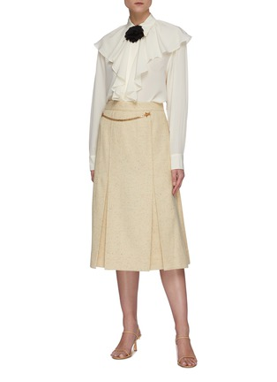 Figure View - Click To Enlarge - VICTORIA BECKHAM - Chain belt 70's skirt