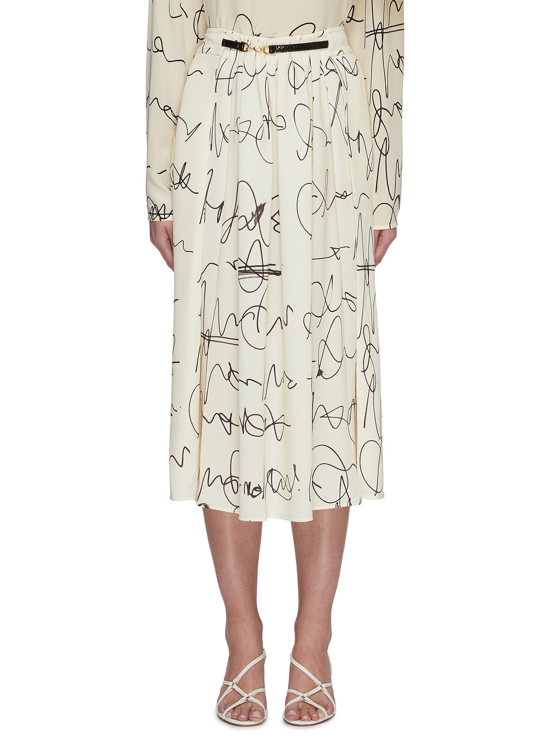 shop Victoria Beckham Scribble print front drape belted skirt online