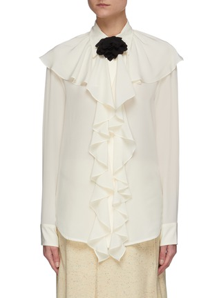 Main View - Click To Enlarge - VICTORIA BECKHAM - Ruffle neck silk blouse