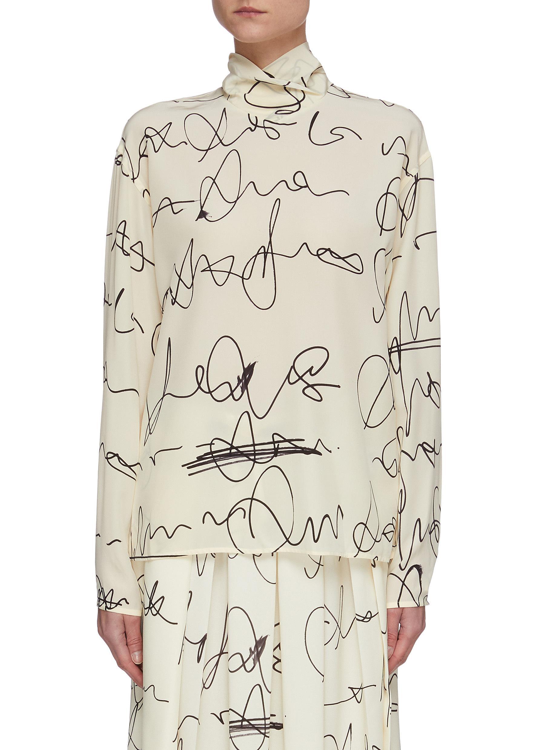shop Victoria Beckham Scribble print button back blouse online