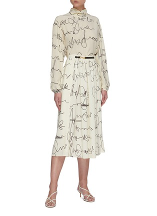 Figure View - Click To Enlarge - VICTORIA BECKHAM - Scribble print button back blouse