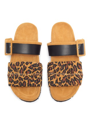 Detail View - Click To Enlarge - PIERRE HARDY - 'Alpha Mare' leopard print moulded footbed sandals