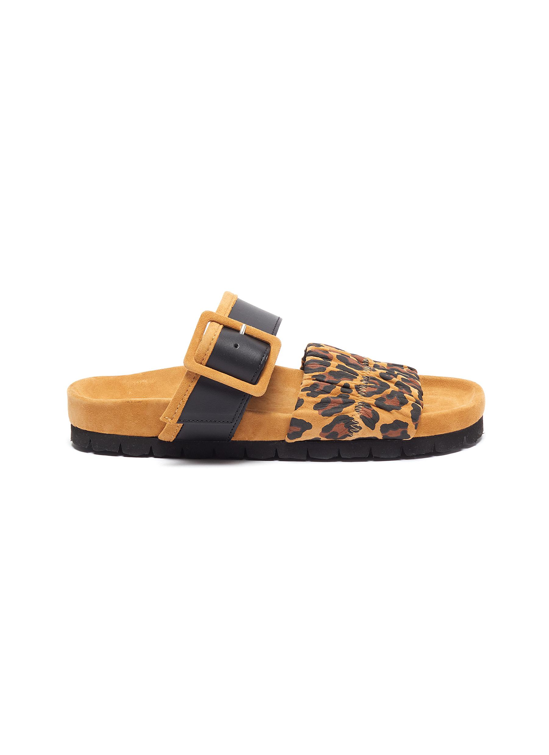 Pierre Hardy Flats Alpha Mare leopard print moulded footbed sandals