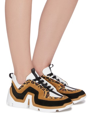 Figure View - Click To Enlarge - PIERRE HARDY - 'Vibe' leopard trim sneakers