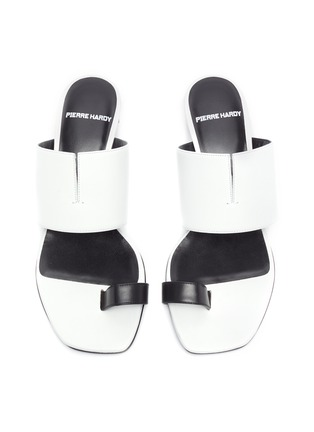 Detail View - Click To Enlarge - PIERRE HARDY - 'V Linea' contrast toe ring leather sandals