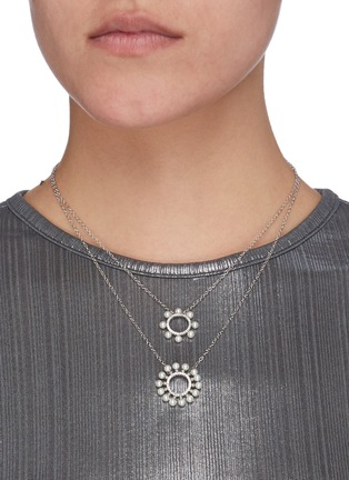 Figure View - Click To Enlarge - CZ BY KENNETH JAY LANE - Cubic Zirconia Pearl Burst Circle Double Layer Necklace