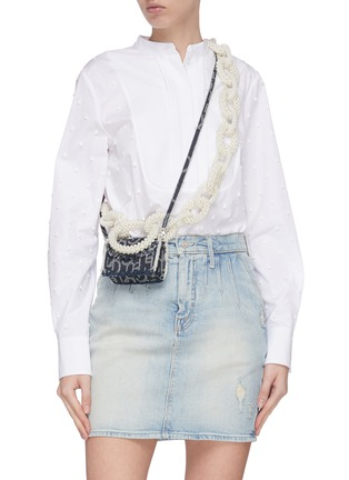 Front View - Click To Enlarge - LAURENCE & CHICO - Pearl chain mini denim crossbody bag