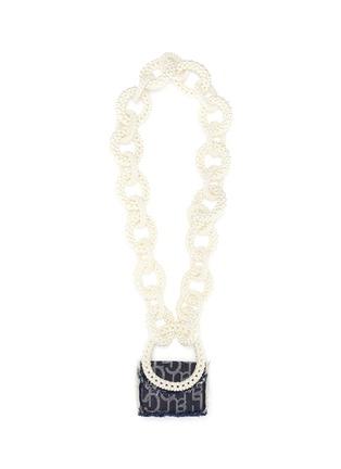 Main View - Click To Enlarge - LAURENCE & CHICO - Pearl chain mini denim crossbody bag