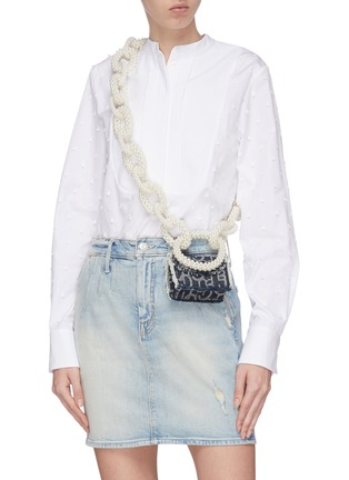 Figure View - Click To Enlarge - LAURENCE & CHICO - Pearl chain mini denim crossbody bag